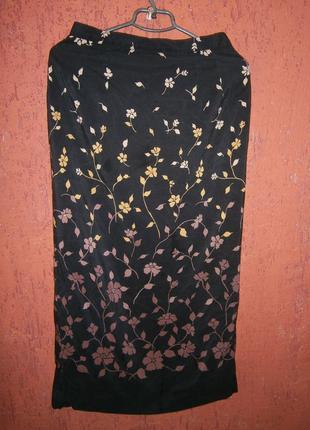 Юбка шелк длинная в пол макси цветы на подкладке карандаш с ра...