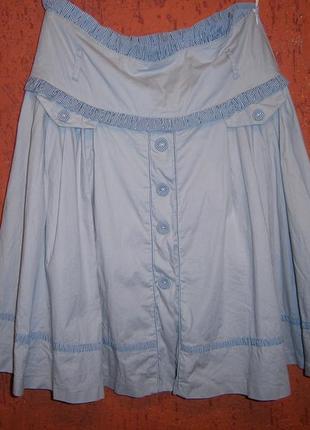 Интересная нежно-серая пышная  юбка высокая талия