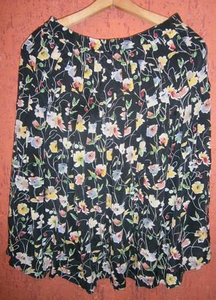Винтаж юбка длинная шелк тренд цветы маки