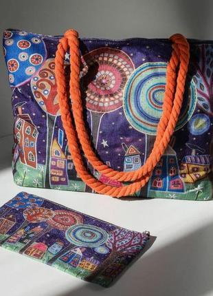 Принтовый💓🕊️набор сумка шопер кошелек 🥀