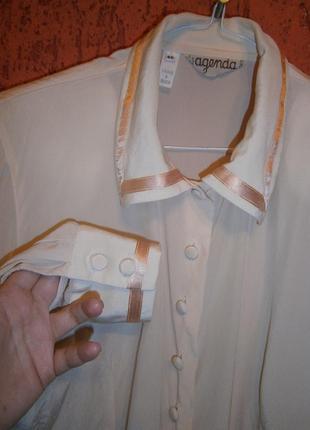 Блуза шелк нежно розовая длинный рукав с отделкой agenda под в...