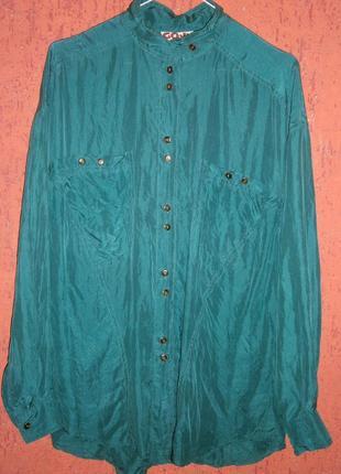 Блуза винтаж шелк длинный рукав оригинальный фасон