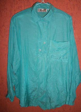 Оригинальная блуза шелк хлопок бирюза длинный рукав