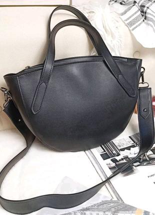 Чорна сумка жіноча напівкругла