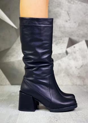 ❤ женские черные кожаные весенние демисезонные сапоги ❤