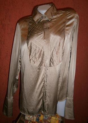 Блуза темно бежевая длинный рукав под запонки шелк атлас