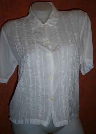Нежная винтаж белая блузка с вышивкой цветы хлопок вискоза кор...