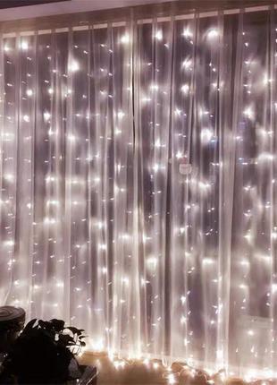 Новогодняя гирлянда штора LED занавес