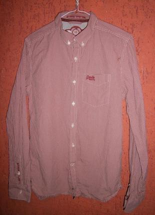 Красивая рубашка длинный рукав клетка хлопок бренд тренд ms4jo006