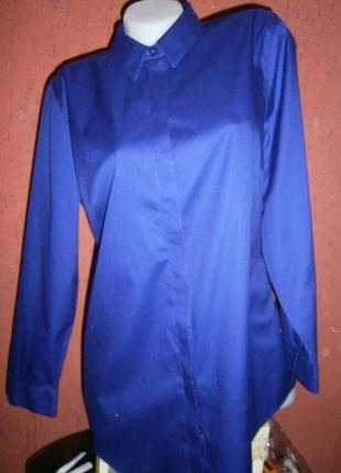 Качественная рубашка   блуза длинная длинный рукав хлопок фиол...