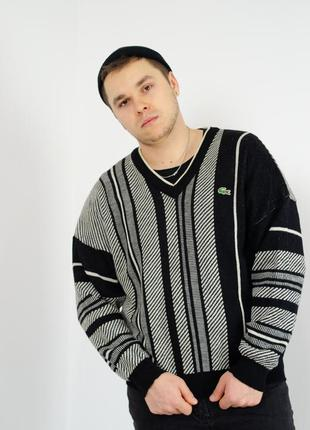 Lacoste винтажный мужской шерстяной свитер пуловер с v-образны...