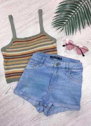 🌿 светло голубые джинсовые шорты с подворотами bershka