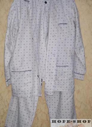 🌙мужская ,тёплая ,серая принтованная пижама на пуговицах с брю...
