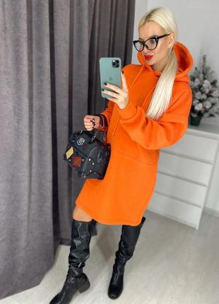 Женское платье худи оранжевое