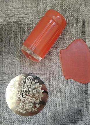 Набор для стемпинга, штамп для украшения гель лаком ногтей, не...