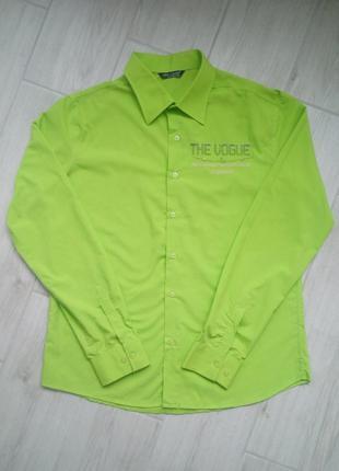 Новая мужская салатовая рубашка, р-р XXL (есть замеры)