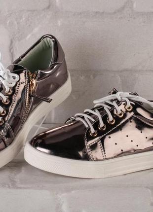 Крутые кеды-кроссовки для девочек, бронза-зеркальные