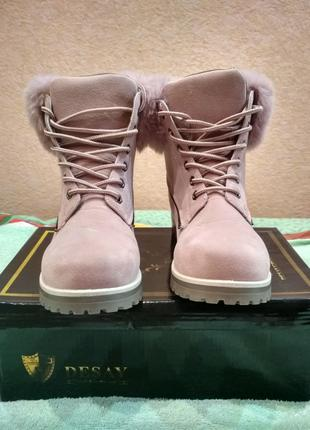 Новые женские утеплённые розовые пудровые ботинки с эко мехом