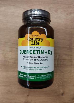 Country Life, Кверцетин и Витамин Д3, Quercetin + D3, 90 капсул