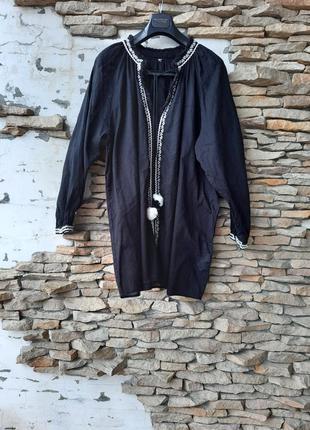 Котоновая с вышивкой рубашка 👕 туника большого размера