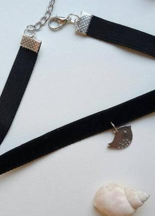 Чокер бархатный черный, с подвеской птица, велюровый, чорний, ...
