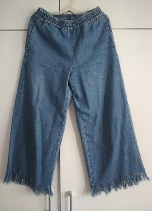 Синие джинсы с бахромой,высокая посадка, высокая талия, bershka
