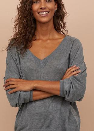 Серый джемпер, пуловер h&m oversize/ xxs
