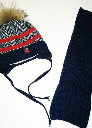 Детская зимняя шапка и шарфик