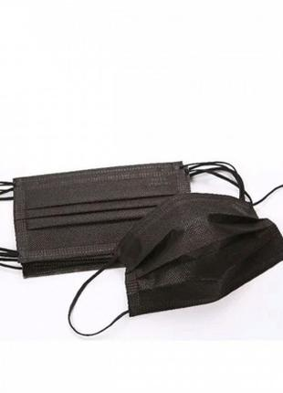 Маска защитная 3-х слойная медицинская 50 шт (Черная)