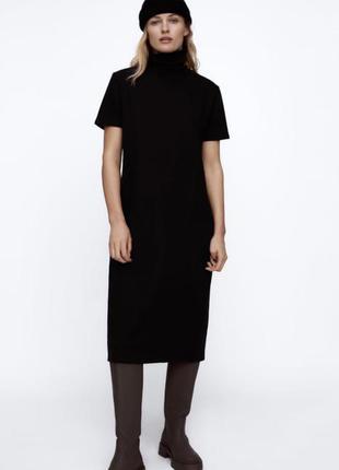Стильное черное платье водолазка оверсайз миди футляр зара zara