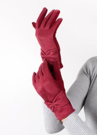 Красные женские перчатки трикотажные сенсорные зимние