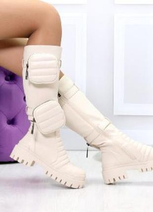 Высокие люксовые бежевые женские сапоги с сумочками кошельками...