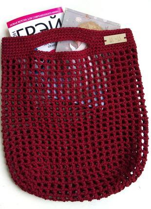 Вязаная сумка-авоська из хлопка
