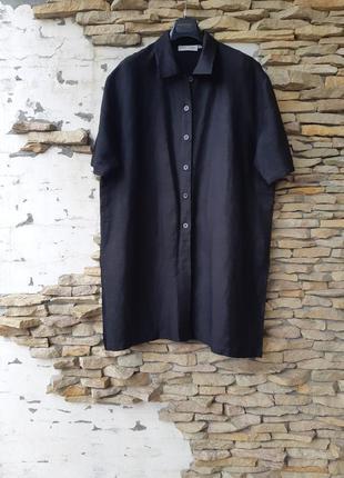 Вискозно-льняная удлинённая рубашка 👕 туника большого размера