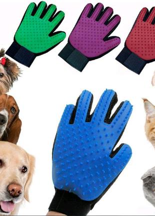 Перчатка для вычесывания шерсти с домашних животных Pet Brush Glo