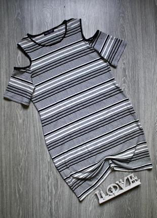 Платье в рубчик с открытыми плечами р. 48-50
