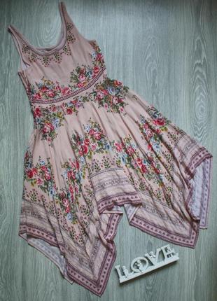 Платье сарафан в цветы с ассиметричным низом р. 42