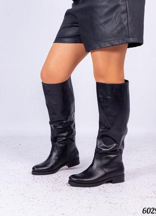 ❤ женские черные кожаные весенние демисезонные сапоги трубы ❤