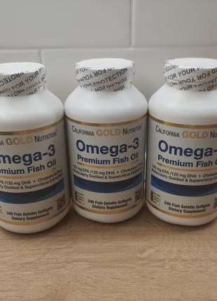 California Gold Nutrition, Омега-3, Omega 3 Рыбий жир, 100 капсул