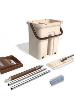 Комплект швабра+ ведром с отжимом Mop scratch (WJ38) / лентяйка