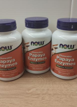Now Foods, Papaya Enzymes Жевательные ферменты папайи 180 шт. США