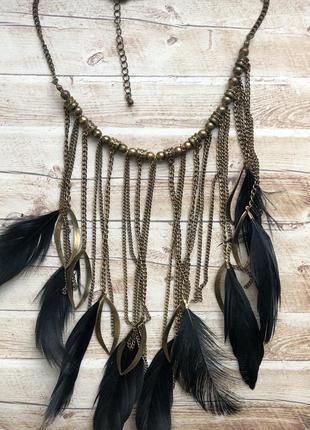 Колье подвеска ожерелье массивное большое цепочки перья
