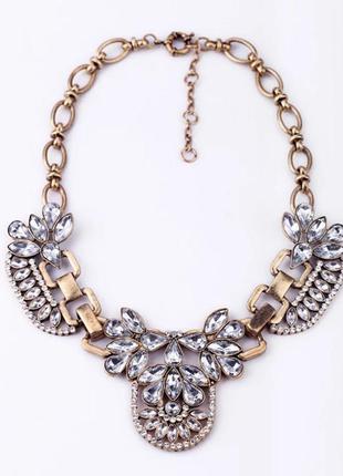 Колье подвеска ожерелье массивное большое камни золото металли...