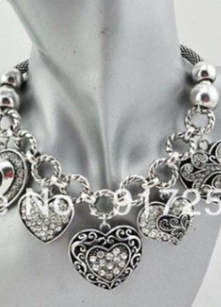Колье подвеска ожерелье массивное большое сердце цепь