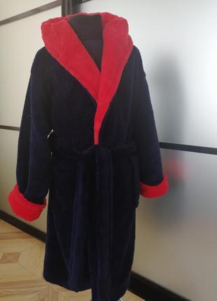 Детский/подростковый тёплый махровый халат для мальчика 6-14 л...