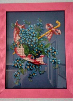 Картина вишита бісером Парасолька з квітами