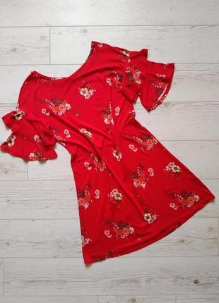 Красивое платье в цветы прямой крой р. 10