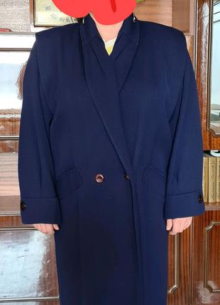 Пальто драповое женское темно-синего цвета