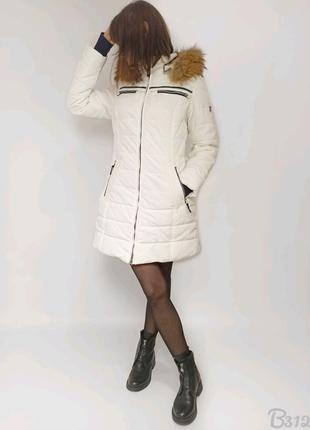 Білий пуховик Snowimage жіночий натуральний пух та хутро