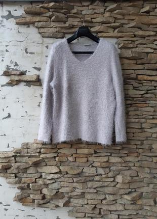 Пудровый теплый пуловер большого размера